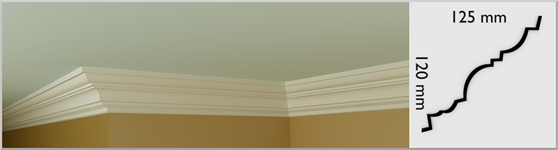 Small Bovale Coving / Cornice, handmade in Kilcock by Euromould for supply throughout Ireland