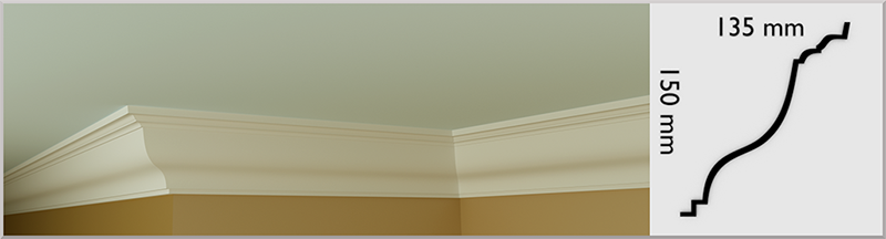 Hillary Coving / Cornice, handmade in Kilcock by Euromould for supply throughout Ireland