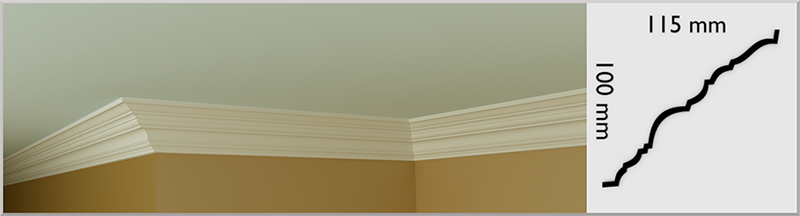 Large Dunboyne Coving / Cornice, handmade in Kilcock by Euromould for supply throughout Ireland