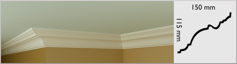 Medium Bullnose Coving / Cornice, handmade in Kilcock by Euromould for supply throughout Ireland
