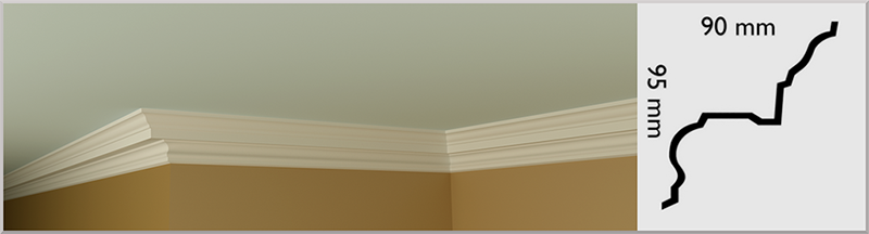 Small Mennolly Coving / Cornice, handmade in Kilcock by Euromould for supply throughout Ireland