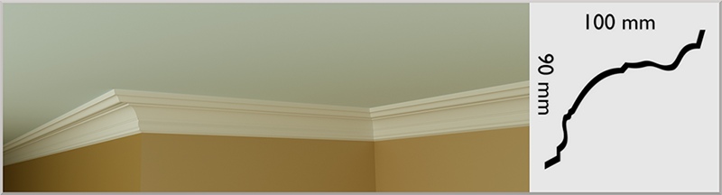 Small Bullnose Coving / Cornice, handmade in Kilcock by Euromould for supply throughout Ireland