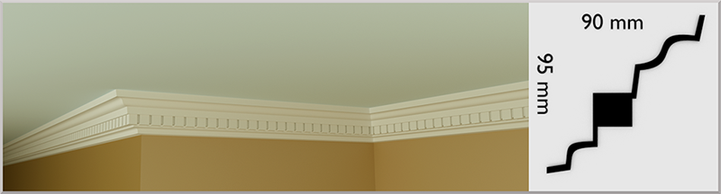 Small Dental Coving / Cornice, handmade in Kilcock by Euromould for supply throughout Ireland