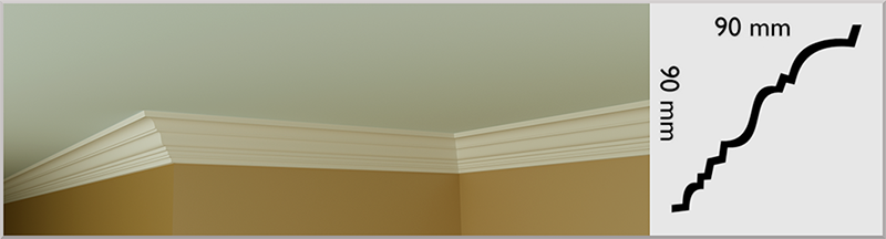 Small Dunboyne Coving / Cornice, handmade in Kilcock by Euromould for supply throughout Ireland
