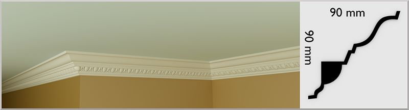 Small Egg & Dart Coving / Cornice, handmade in Kilcock by Euromould for supply throughout Ireland