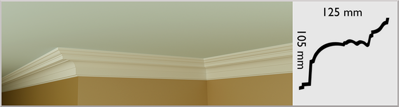 Small RQ Coving / Cornice, handmade in Kilcock by Euromould for supply throughout Ireland