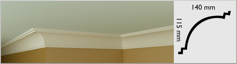 Spanish Cove Coving / Cornice, handmade in Kilcock by Euromould for supply throughout Ireland